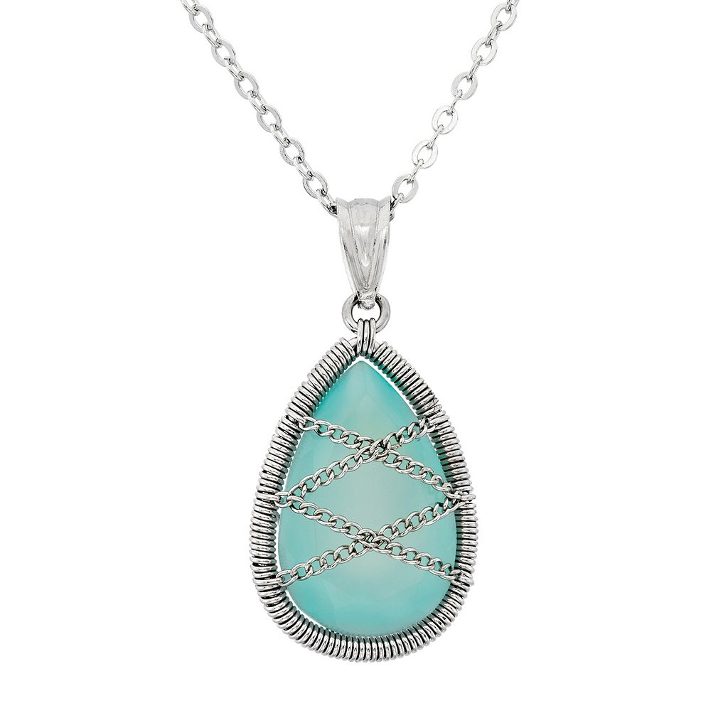 Chalcedony Sterling Silver Chain-Wrapped Teardrop Pendant Necklace