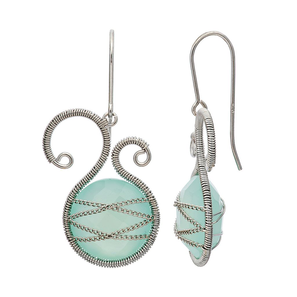 Chalcedony Sterling Silver Scrollwork & Chain-Wrapped Drop Earrings