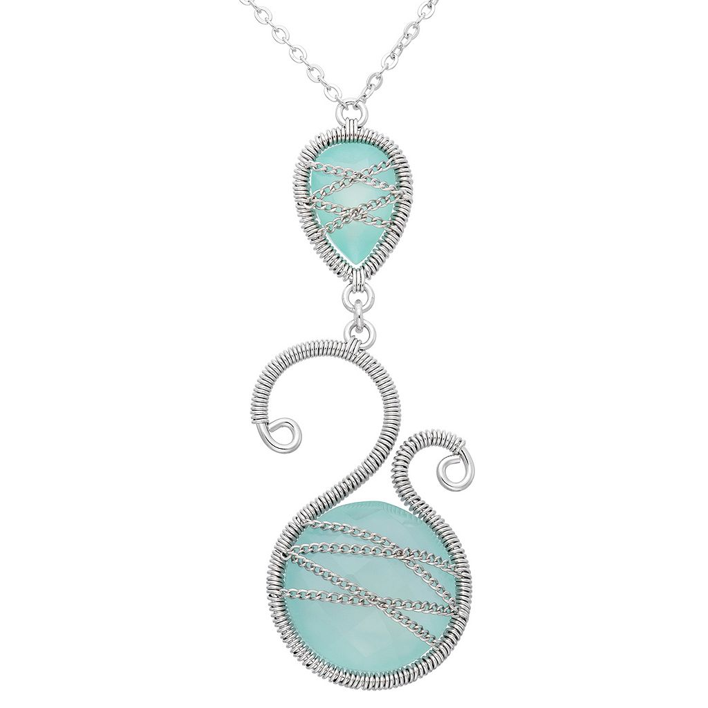 Chalcedony Sterling Silver Scrollwork & Chain-Wrapped Necklace