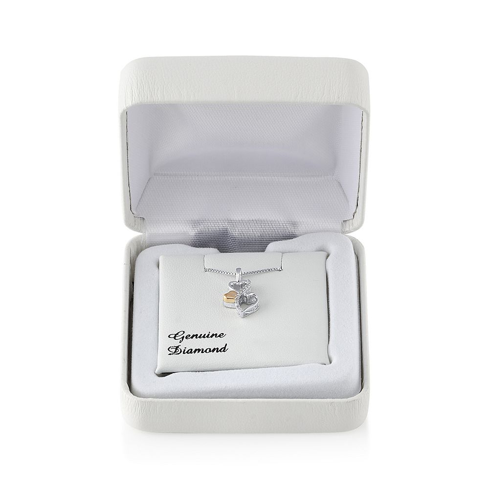 Love Is Forever Diamond Accent Sterling Silver & 10k Gold Over Silver Double Heart Pendant Necklace