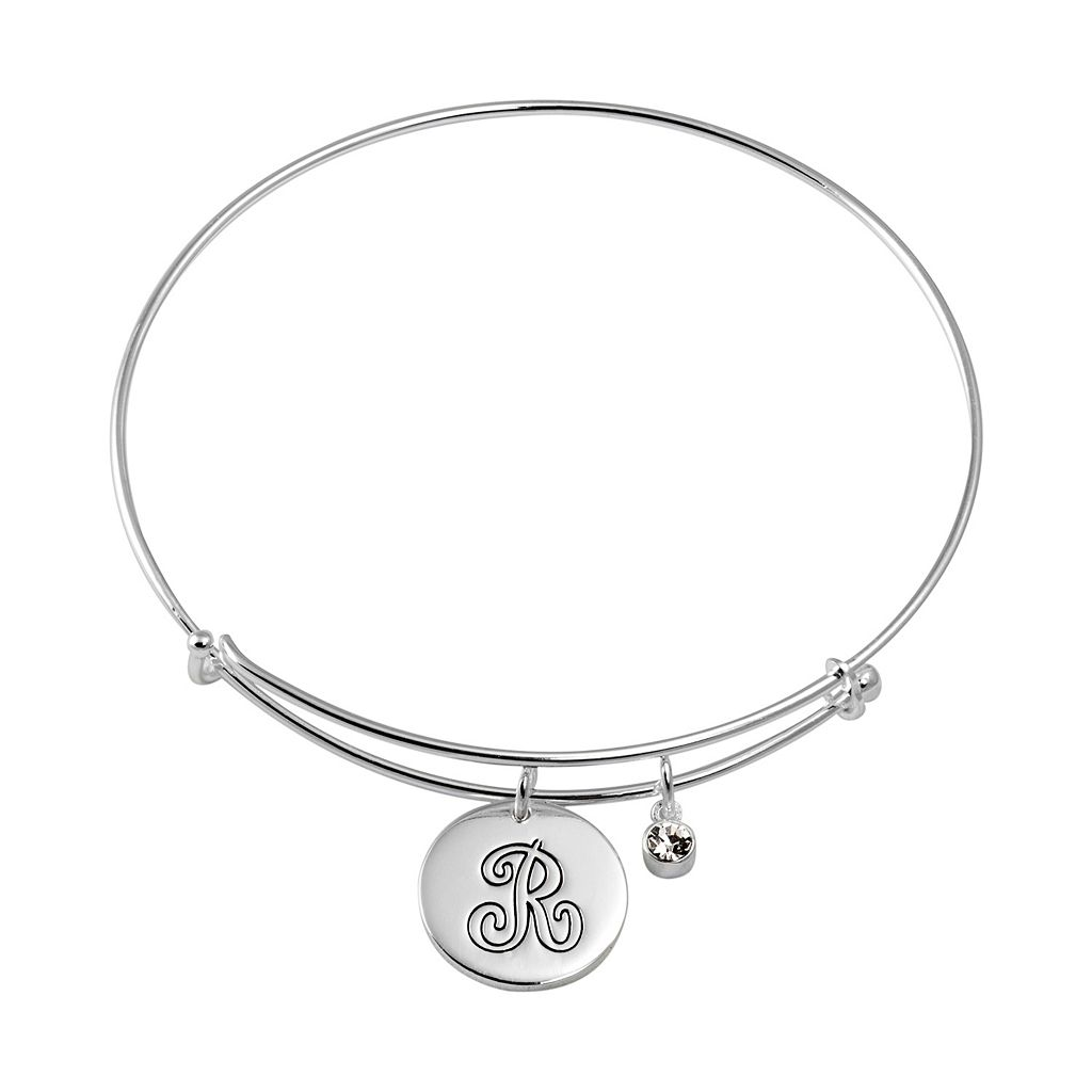 Crystal Silver-Plated Initial Charm Bangle Bracelet
