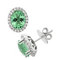 Green Obsidian & Cubic Zirconia Platinum Over Silver Oval Halo Stud Earrings