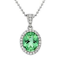 Green Obsidian & Cubic Zirconia Platinum Over Silver Oval Halo Pendant Necklace