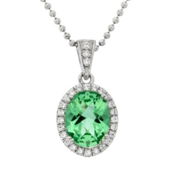 Green Obsidian and Cubic Zirconia Platinum Over Silver Oval Halo Pendant Necklace