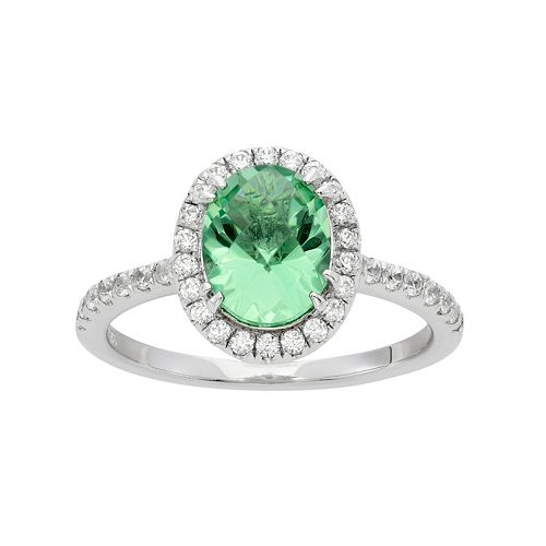 Green Obsidian & Cubic Zirconia Platinum Over Silver Tiered Oval Halo Ring