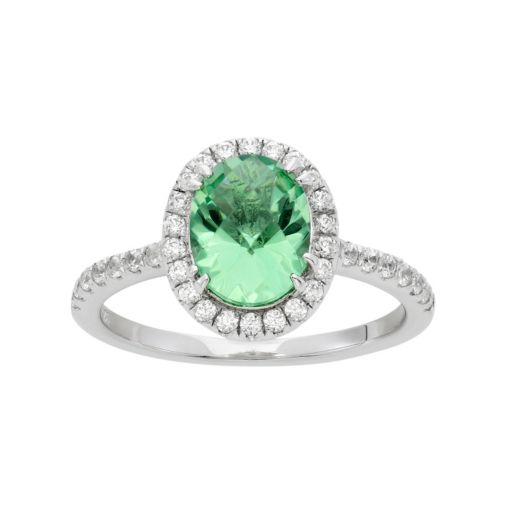 Green Obsidian and Cubic Zirconia Platinum Over Silver Tiered Oval Halo Ring