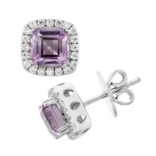 Amethyst and Cubic Zirconia Platinum Over Silver Square Halo Stud Earrings