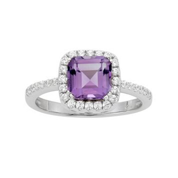 Amethyst & Cubic Zirconia Platinum Over Silver Square Halo Ring