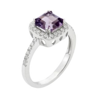 Amethyst and Cubic Zirconia Platinum Over Silver Square Halo Ring