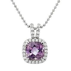 Amethyst & Cubic Zirconia Platinum Over Silver Square Halo Pendant Necklace