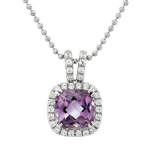 Amethyst & Cubic Zirconia Platinum Over Silver Square Halo Pendant Necklace