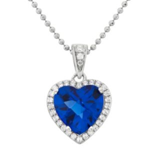 Blue Obsidian and Cubic Zirconia Platinum Over Silver Heart Halo Pendant Necklace