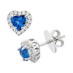 Blue Obsidian & Cubic Zirconia Platinum Over Silver Heart Halo Stud Earrings