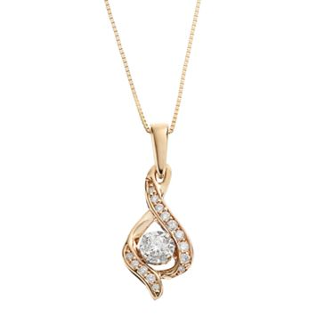 Sirena Collection 1/8 Carat T.W. Diamond 14k Gold Two Tone Drop Pendant Necklace