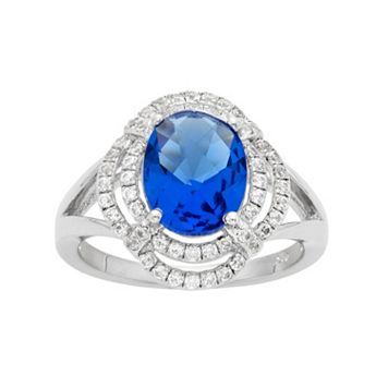 Blue Obsidian & Cubic Zirconia Platinum Over Silver Tiered Oval Halo Ring