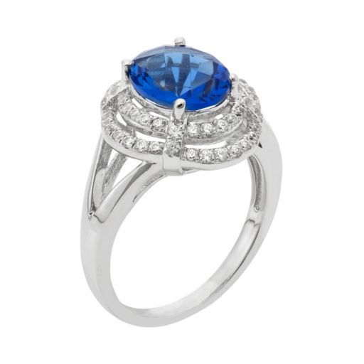 Blue Obsidian and Cubic Zirconia Platinum Over Silver Tiered Oval Halo Ring
