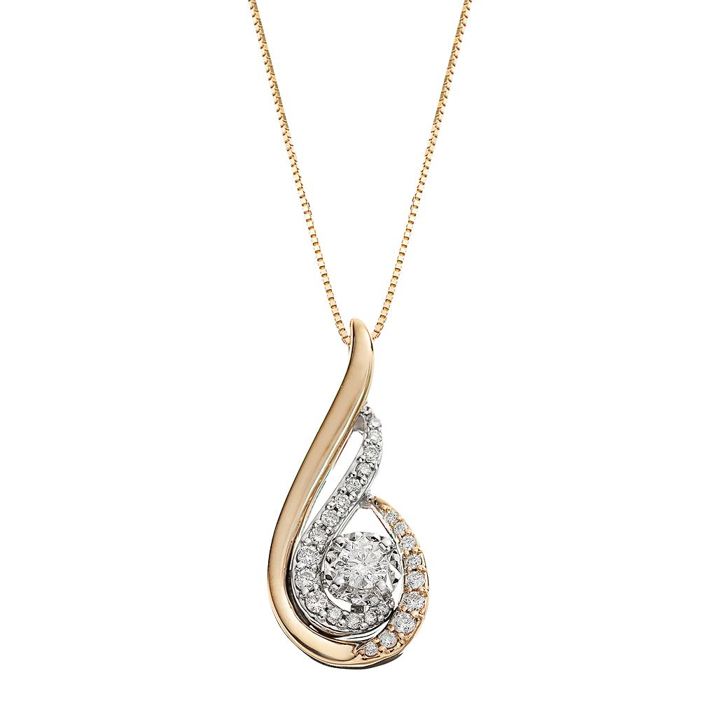 Sirena Collection 1/3 Carat T.W. Diamond 14k Gold Two Tone Swirl Drop Pendant Necklace