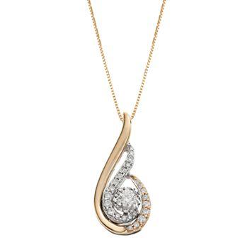 Sirena Collection 1/3 Carat T.W. Diamond 14k Gold Two Tone Swirl Drop Pendant Necklace