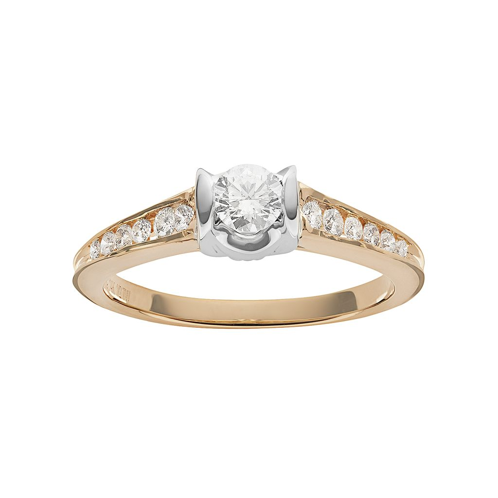 Sirena Collection Diamond Two Tone Engagement Ring in 14k Gold (1/2 Carat T.W.)