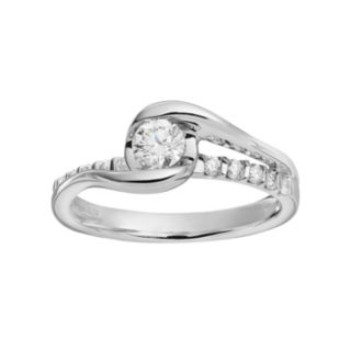Sirena Collection Diamond Bypass Engagement Ring in 14k White Gold (1/2 Carat T.W.)