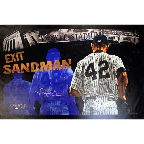 Steiner Sports New York Yankees Mariano Rivera Stephen Holland Exit Sandman 25″ x 44″ Signed Giclee on Canvas Wall Art