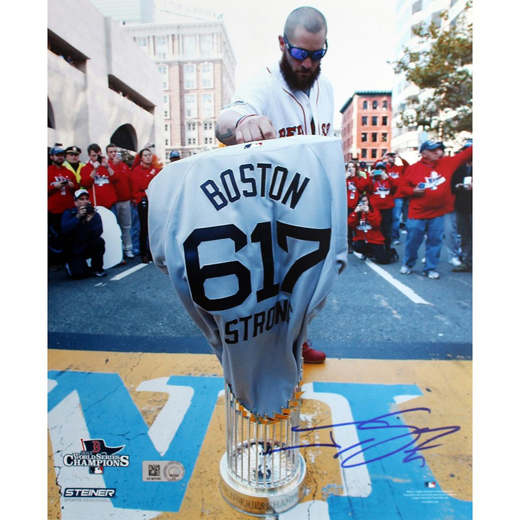 Steiner Sports Boston Red Sox Jonny Gomes Boston Strong Jersey at Marathon Finish Line 8'' x 10'' Signed Photo