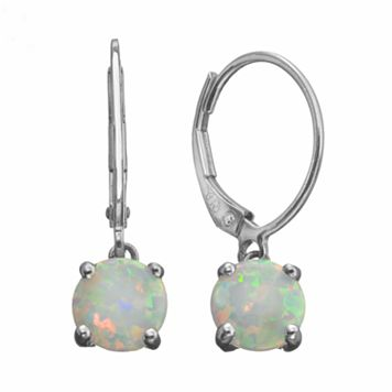Lab-Created Opal Sterling Silver Drop Earrings