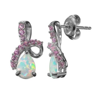 Lab-Created Opal and Lab-Created Pink Sapphire Sterling Silver Twist Drop Earrings