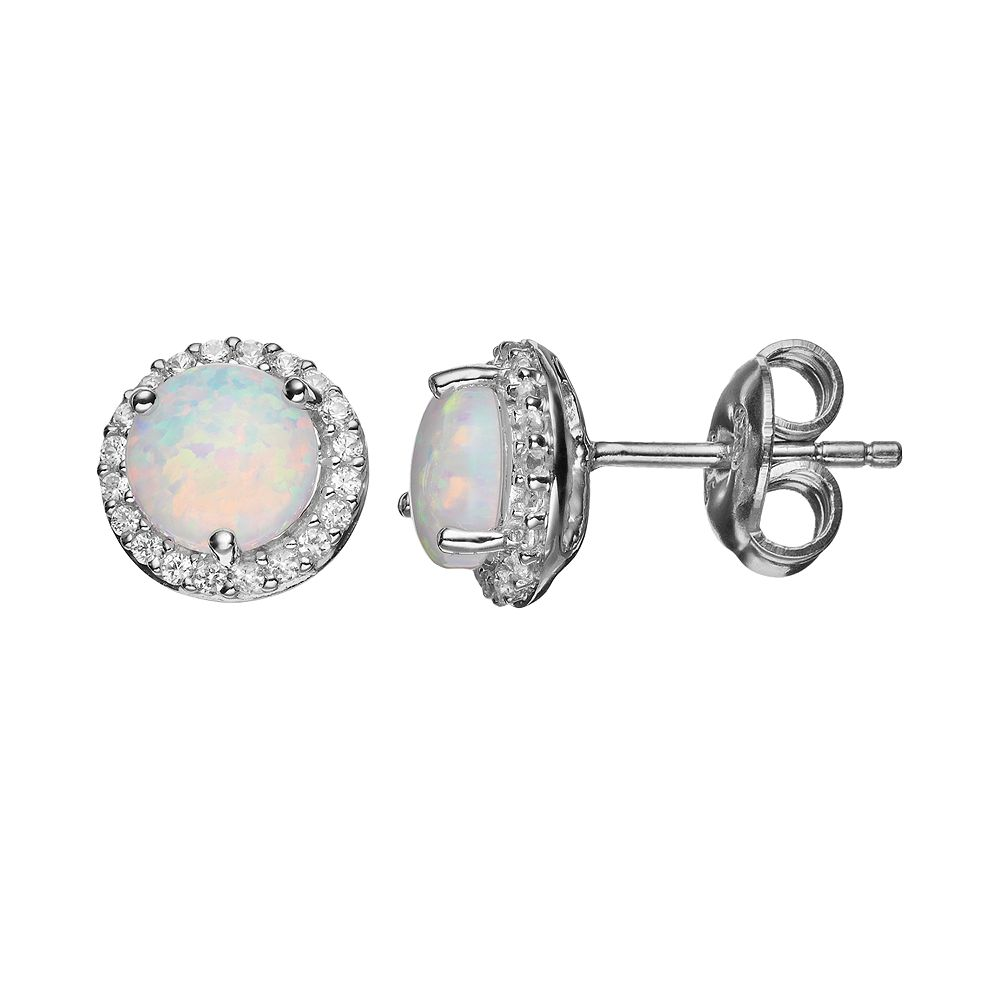 Lab-Created Opal & Lab-Created White Sapphire Sterling Silver Halo Stud Earrings
