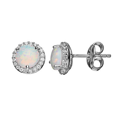 Lab-Created Opal and Lab-Created White Sapphire Sterling Silver Halo Stud Earrings
