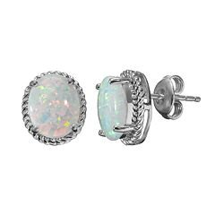 Lab-Created Opal Sterling Silver Oval Halo Stud Earrings