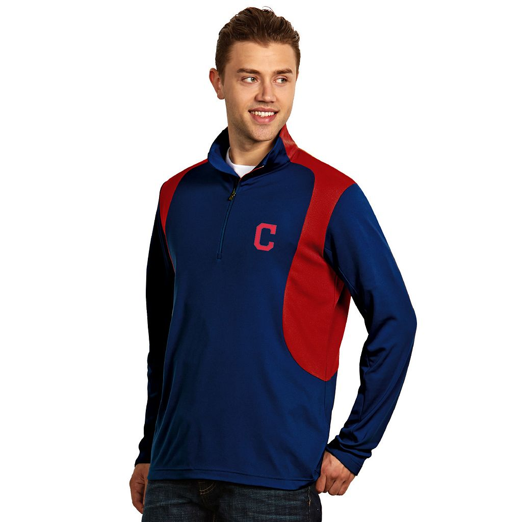 Men's Antigua Cleveland Indians Delta 1/4-Zip Pullover