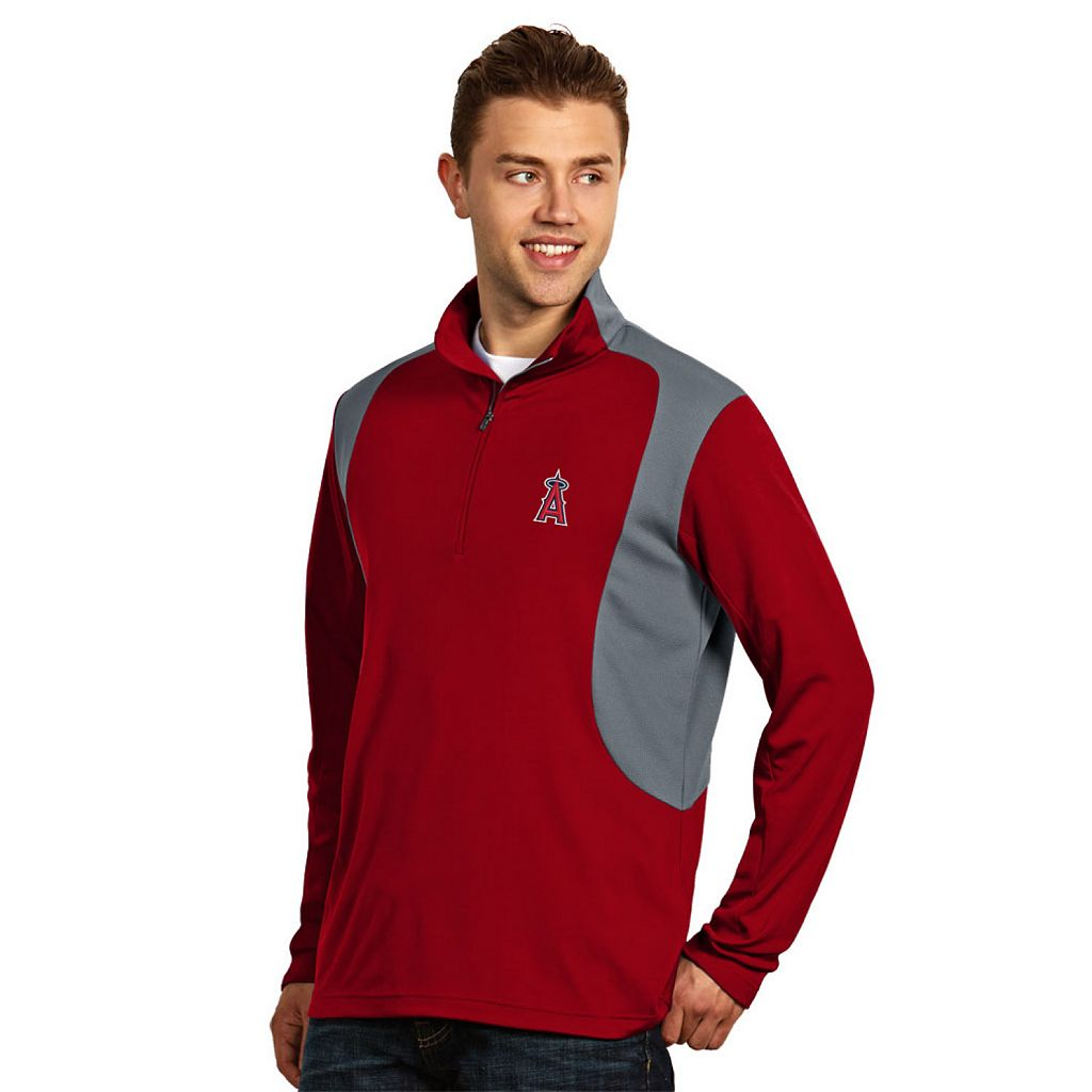 Men's Antigua Los Angeles Angels of Anaheim Delta 1/4-Zip Pullover