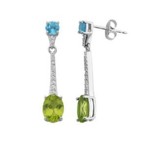 Gemstone Sterling Silver Linear Drop Earrings