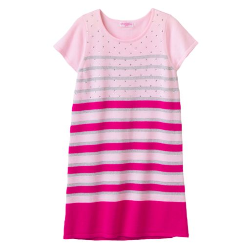 Design 365 Striped Rhinestone Knit Dress - Toddler