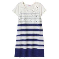Design 365 Striped Rhinestone Knit Dress - Toddler