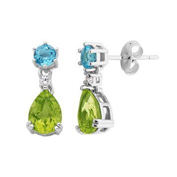 Gemstone Sterling Silver Teardrop Earrings