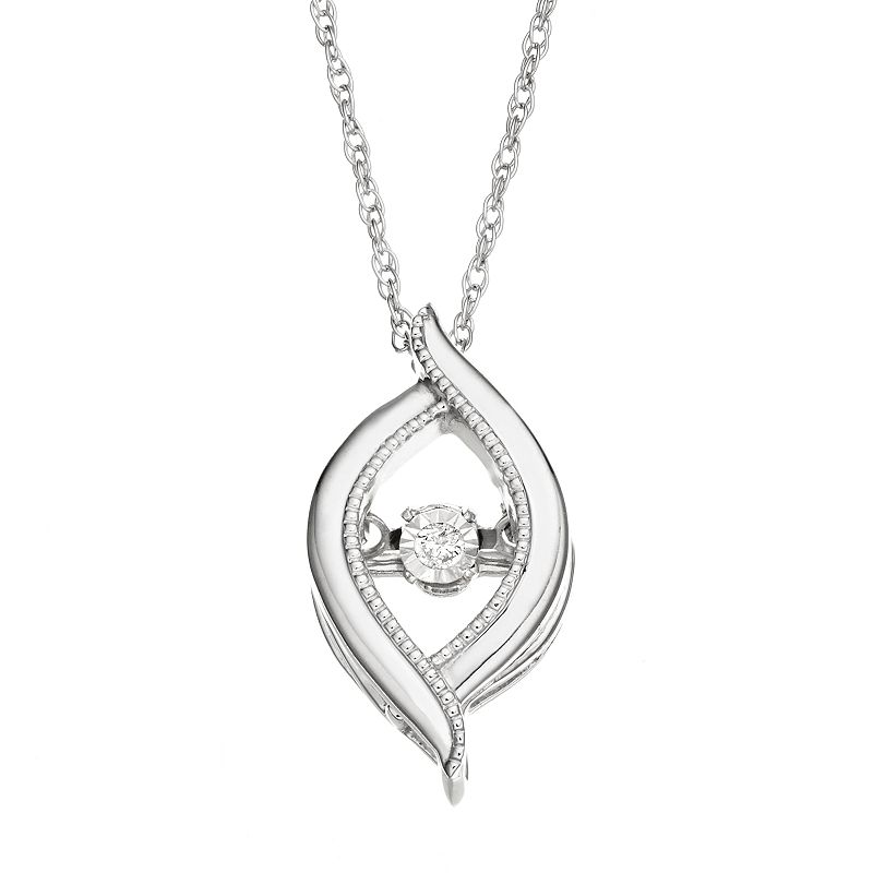 Dancing Love Diamond Accent Sterling Silver Marquise Pendant Necklace, Women's, White