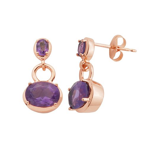 Amethyst 18k Rose Gold Over Silver Oval Drop Earrings