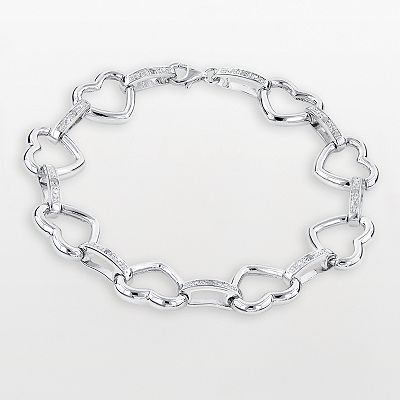 Sterling Silver 1/10-ct. T.W. Diamond Heart Bracelet