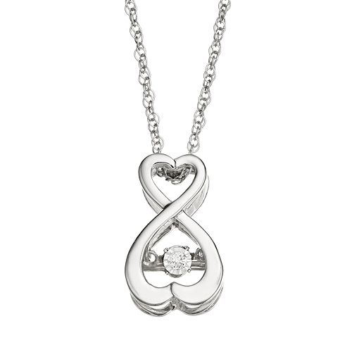 Dancing Love Diamond Accent Sterling Silver Infinity Heart Pendant Necklace