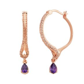 Amethyst and Lab-Created White Sapphire 18k Rose Gold Over Silver Hoop Teardrop Earrings