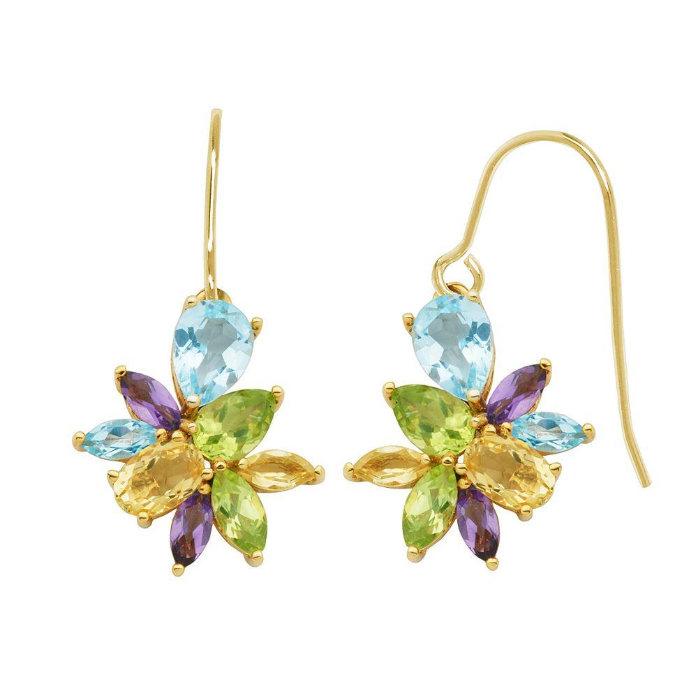 Gemstone 18k Gold Over Silver Cluster Drop Earrings
