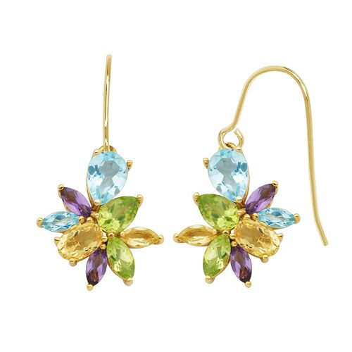Gemstone 18k Gold Over Silver Cluster Drop Earrings