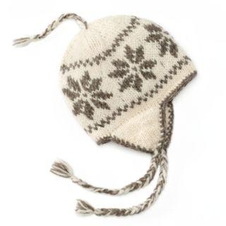 SIJJL Snowflake Fleece-Lined Wool Trapper Hat