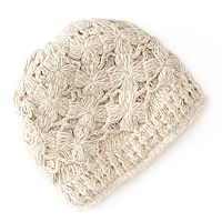 SIJJL Floral Crochet Fleece-Lined Wool Beanie Hat