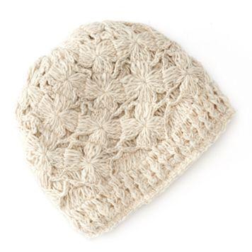 SIJJL Floral Crochet Fleece-Lined Wool Beanie Hat
