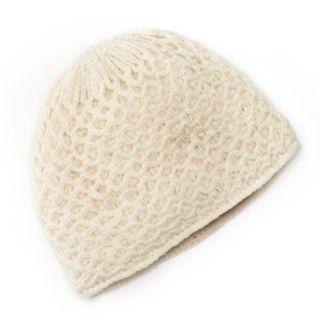 SIJJL Fleece-Lined Fishnet Crochet Wool Beanie Hat