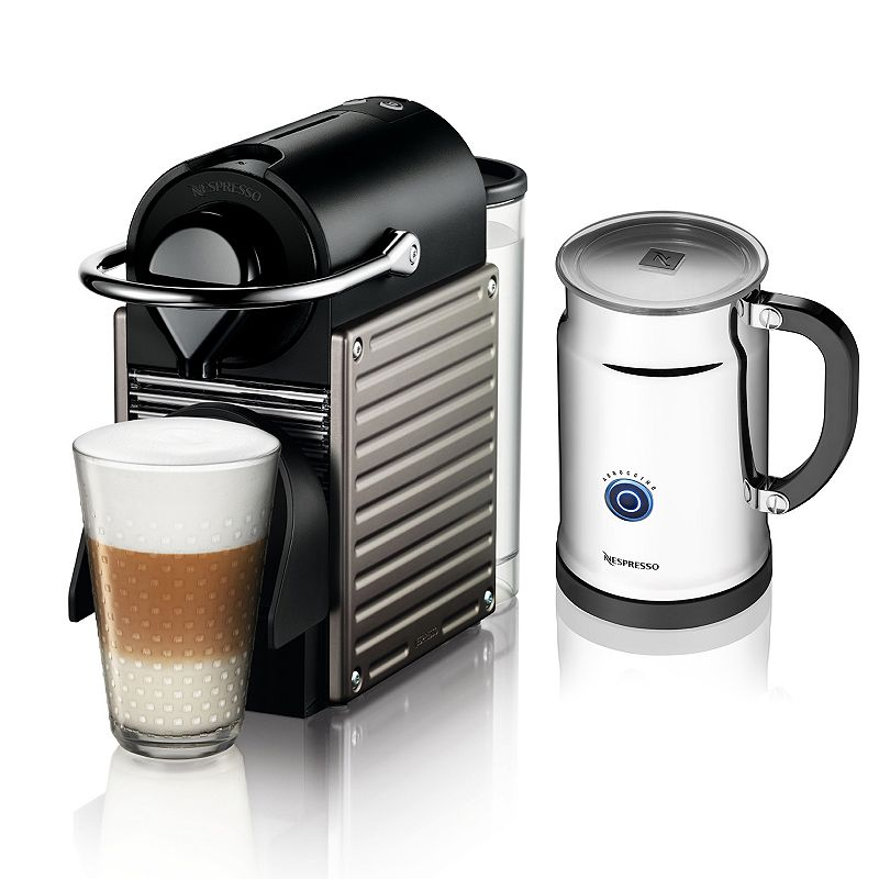 Nespresso Pixie Espresso Machine & Aeroccino+ Plus Milk Frother (Grey)