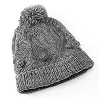 SIJJL Pom-Pom Cable-Knit Wool Beanie Hat
